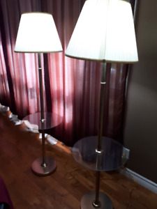 Tall lamps with attached glass table