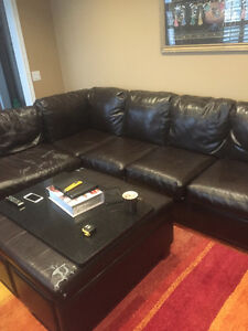 L Shaped Sectional Brown Leather mix  from Ashley Furniture
