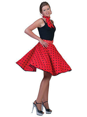 Ladies Polka Dot Rock N Roll Skirt & Scarf 50s 60s Fancy Dress Red New 1950s