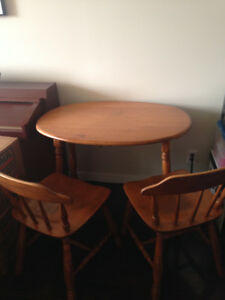 Vintage solid wood dining table and 2 chairs