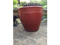 Large frostproof rusty red garden planter, plant pot