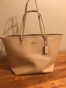 Beige Leather Coach Tote