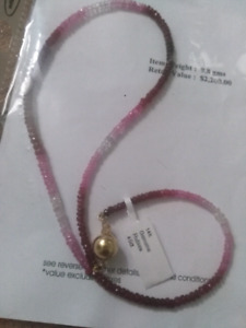 Sapphire and ruby bead necklace