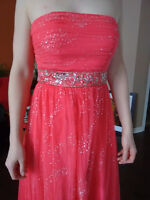 Shimmery Pink Formal Dress with jewelled belt and slight train-S