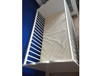 White wooden cot with mattress (used)
