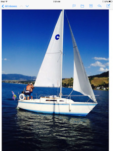 23ft O'Day swing keel sailboat and trailer