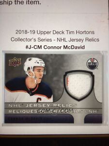 UD Tim Hortons 2018/19 Mcdavid Jersey Relic DUAL COLOUR