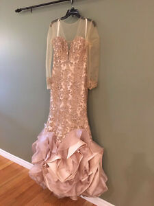 Coral mermaid style dress great for prom or engagement