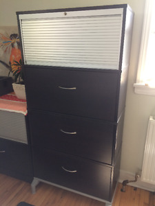 Tall, Wood Ikea Filing Cabinet with Storage Compartment