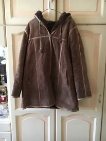 Suede fur lined coat Size 16