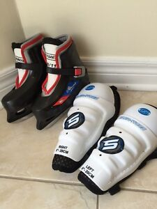 Bauer Lil Champs Skates, boys or girls & knee guards West Island Greater Montréal image 2