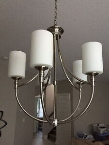 Chandelier and 2 matching pendant lights