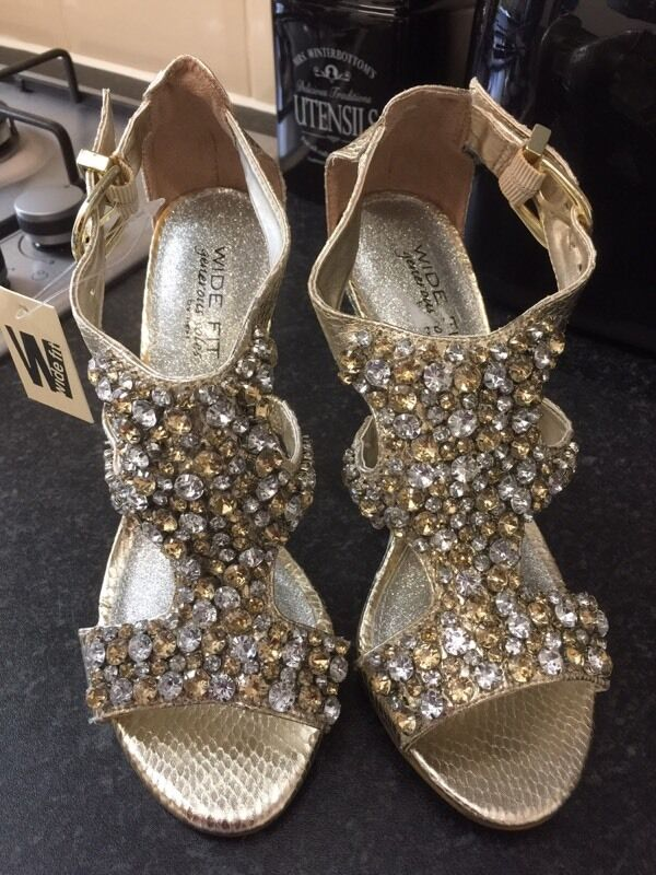 NEXT Generous Soles Gold Jewel Encrusted Sandals Shoes Heels Size