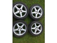 "4 X 16"" alloy wheels 7Jx16 tyres 205/50 87V 5-7mm BMW VW 4 stud"