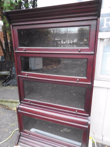 sectional barrister bookcase, bevelled glass, 4 sections
