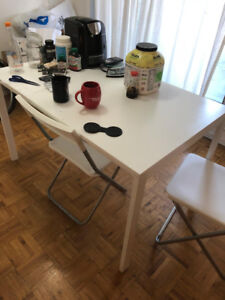 Dinning/Office/Table-IKEA bought  (white MINT) with 2 chairs
