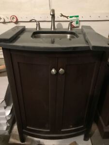 Bar Vanity with granite on top, with faucet Brushed nickel $ 90