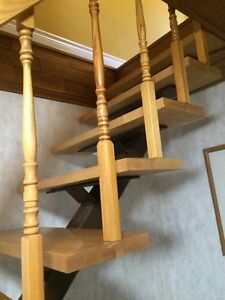 Steel  beam with solid wood plank steps and hand rail. London Ontario image 2