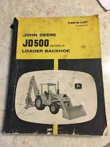 John Deere JD 500 Loader Backhoe Parts Manual