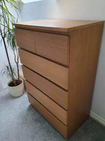 Ikea Malm Oak chest of drawers storage unit