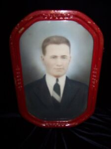 ANTIQUE BUBBLE GLASS CUTE SHAPE FRAME with PICTURE IN.