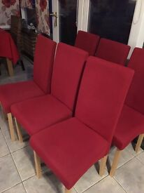 6 dining chairs red fabric very good condition