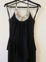 Black Halter Dress with Ruffle - Size Small