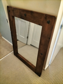 Large rustic wood mirror