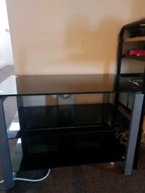 Three tier glass coffee table
