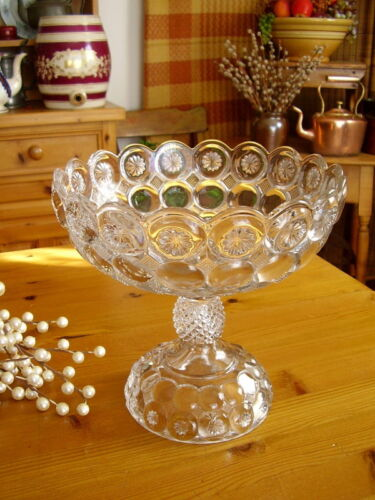 Antique EAPG COMPOTE - JEWELED MOON & STARS - Vintage 1890