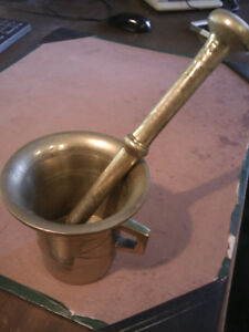 Vintage Brass Mortar and Pestle with Handles