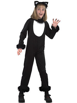 Child Kitty Black Cat Outfit Animal Halloween Fancy Dress 3-13 Years New (Black Cat Outfit)