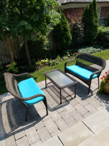 Pair of Wicker Patio Love Seats