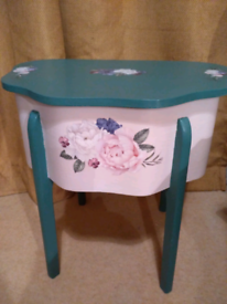Beautiful upcycled sewing box/table