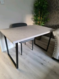 Dining Table - Desk - grey concrete effect top - black metal legs