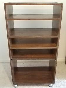 Brown Bookshelf with Wheels