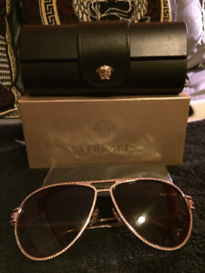 Versace Sunglasses-aviator style, iced out around lenses, MINT