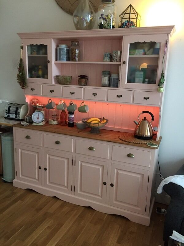 Large Welsh Dresser Kitchen Unit Upcycled Coral Pink Cupboard Shabby Chic Sid