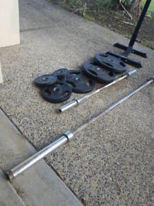 Olimpic weights. Bars and racks