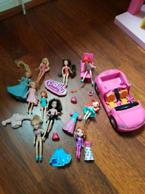 Polly Pocket set dolls and accessories 4 cars