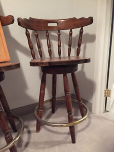 Bar Stools - solid wood swivel chairs- Set of 3 or buy separate