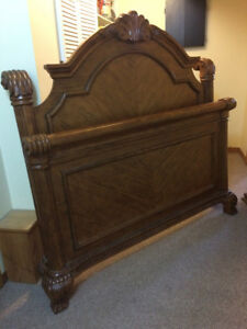 Solid wood queen bed and dresser/mirror