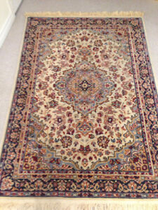 Blue and cream wool rug