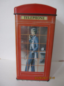 English telephone booth tin can (coin bank)
