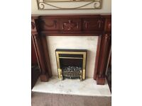 SOLID MAHOGANY FIRE SURROUND, ELECTRIC FIRE, HEARTH AND BACK PANEL