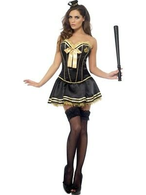 New FEVER POLICE OFFICER COP BONED CORSET AND TUTU SEXY HALLOWEEN COSTUME M MD