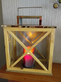 COPPER AND WOOD LANTERN