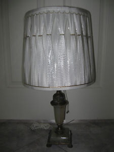 CLASSY OLD PARLOR TABLE LAMP.with BRASS/MARBLE-LIKE BASE ['50's