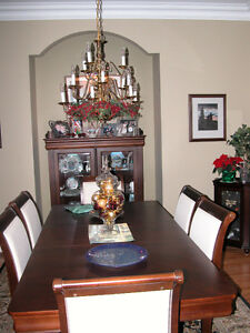 Cherry Dining Room Table and 8 chairs