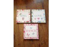 Sing Dance Love Canvas Prints - Shabby Chic - £10